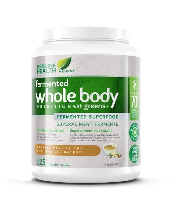 Genuine Health - Fermented Whole Body Nutrition w/ Greens+ - Natural Vanila Chai - 525g