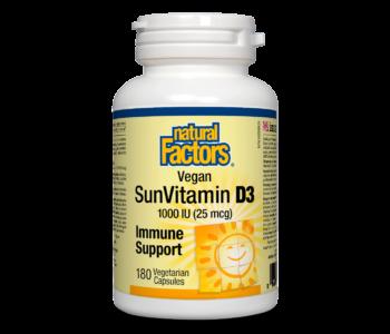 Natural Factors - Vegan Vitamin D3 1000 IU - 180 SG