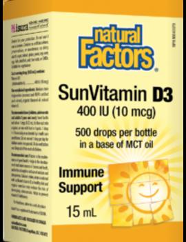 Natural Factors Natural Factors - Vitamin D3 for Kids 400 IU - 500 Drops
