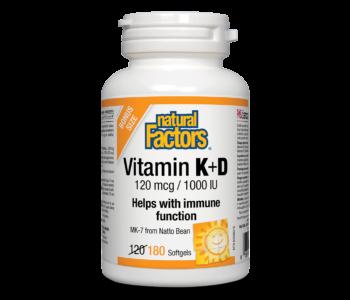 Natural Factors - Vitamin K & D - 180 SG BONUS Size