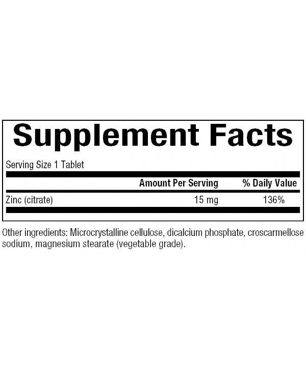 Natural Factors - Zinc Citrate 15 mg - 90 Tabs