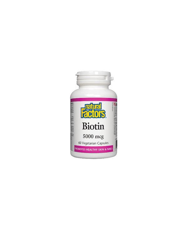 Natural Factors - Biotin 5000 mcg - 60 V-Caps