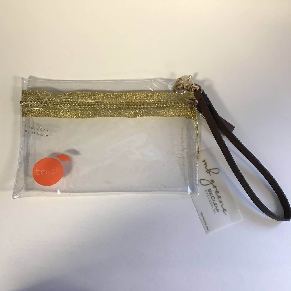 The Orange Beach Store MB Greene Clear/Gold Wristlet