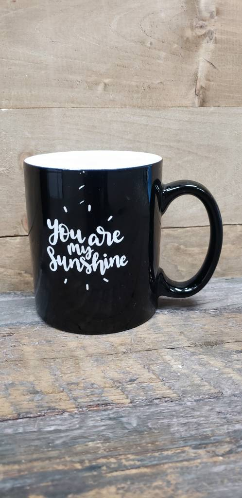 You are My Sunshine Black Mug