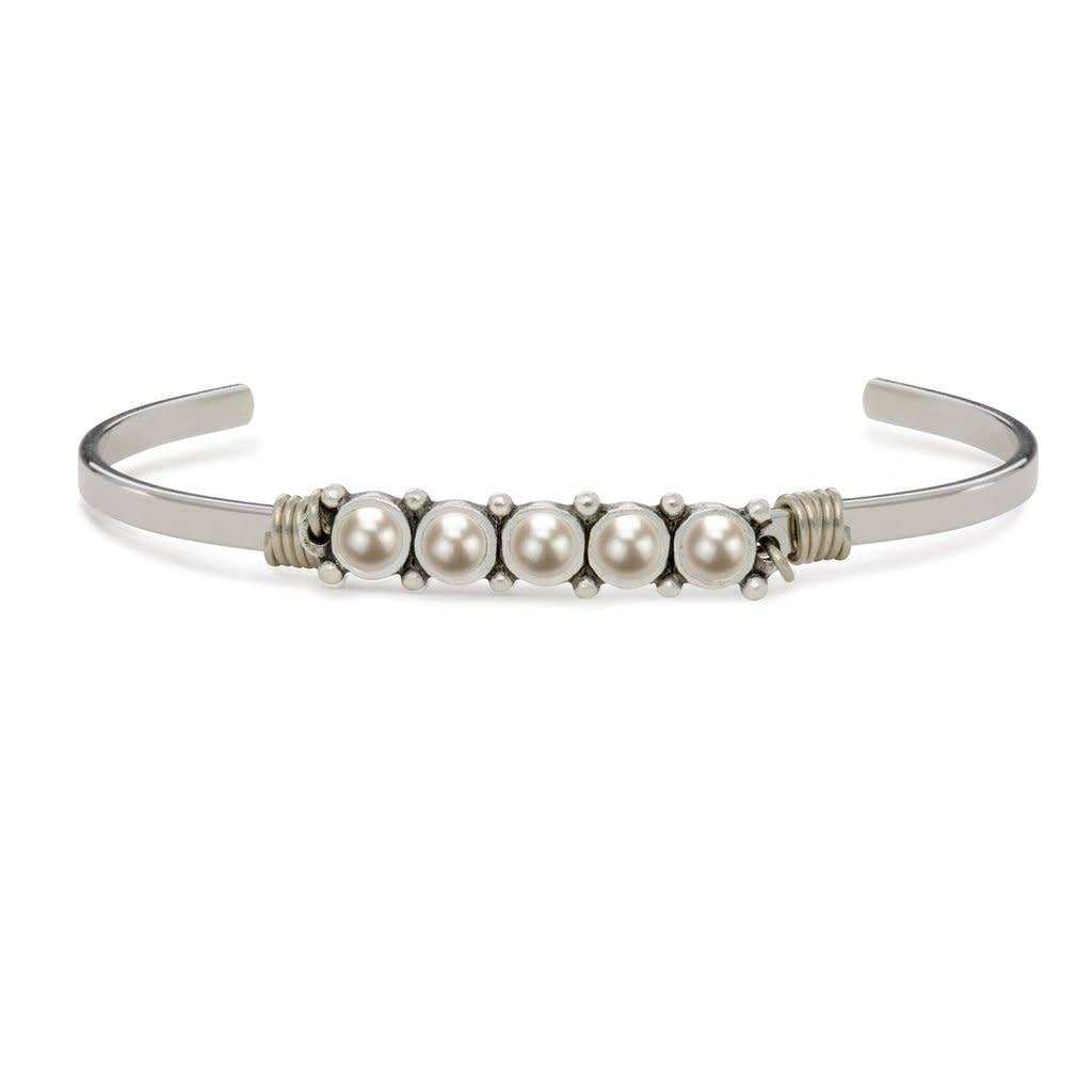 Crystal White Pearl Cuff Silver