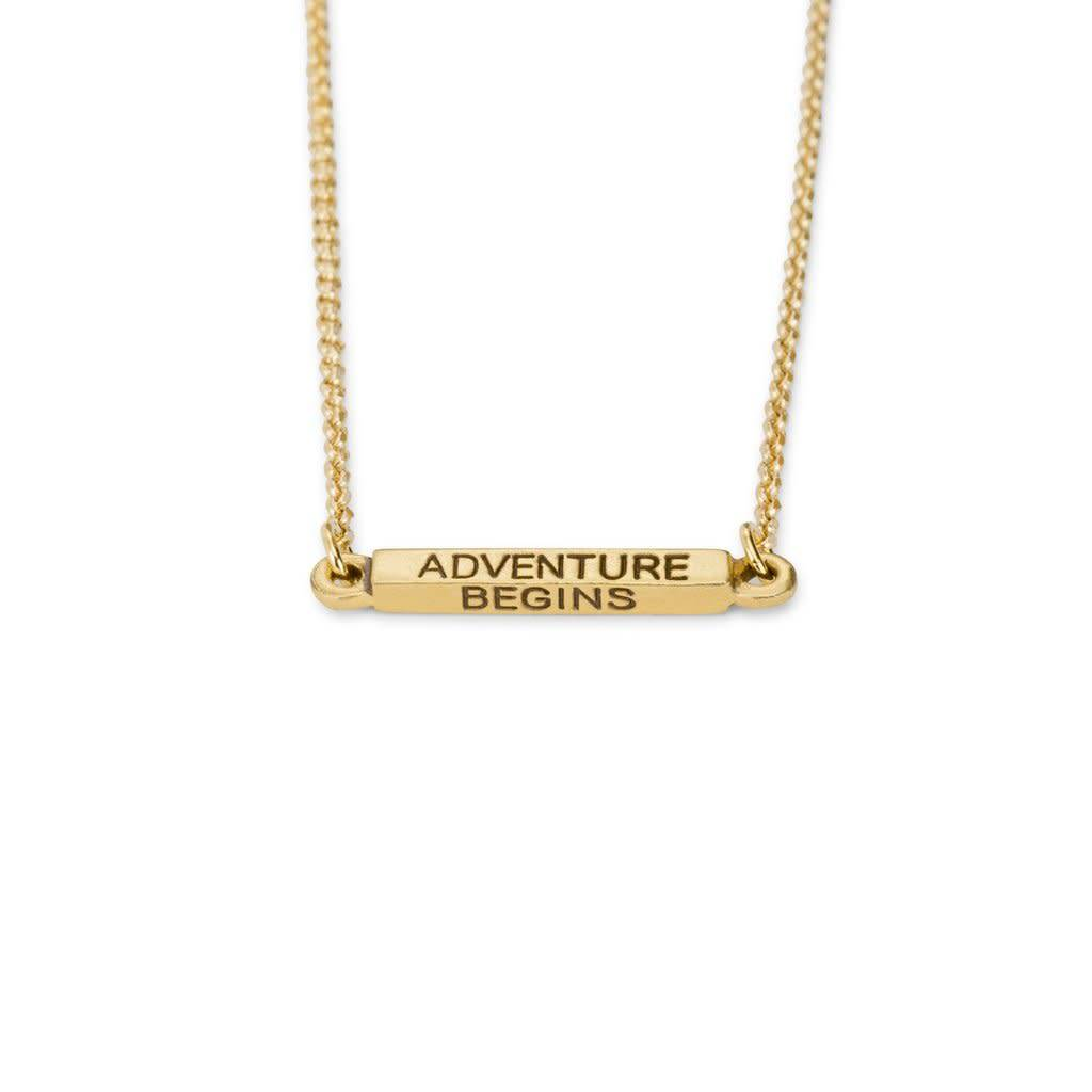 Adventure Begins Necklace Gold