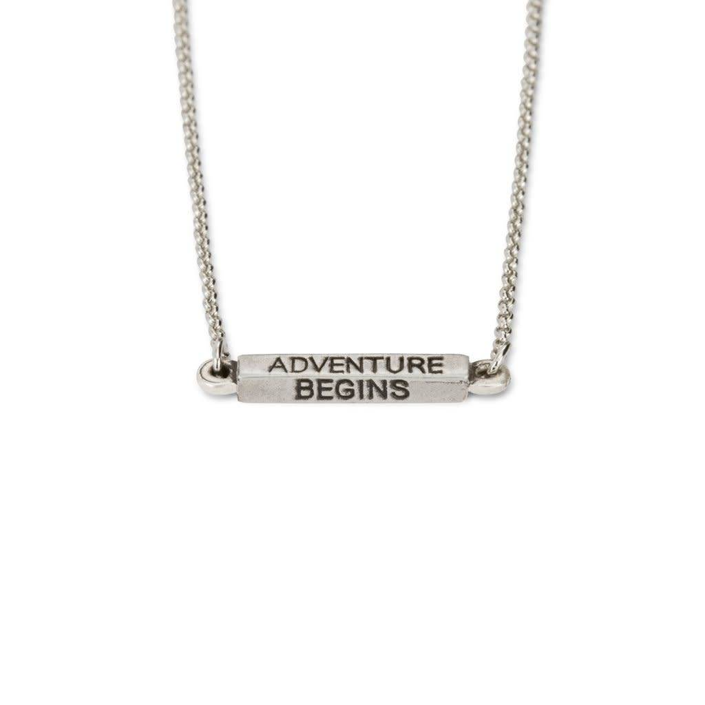 Affirmations Adventure Begins Necklace Silver