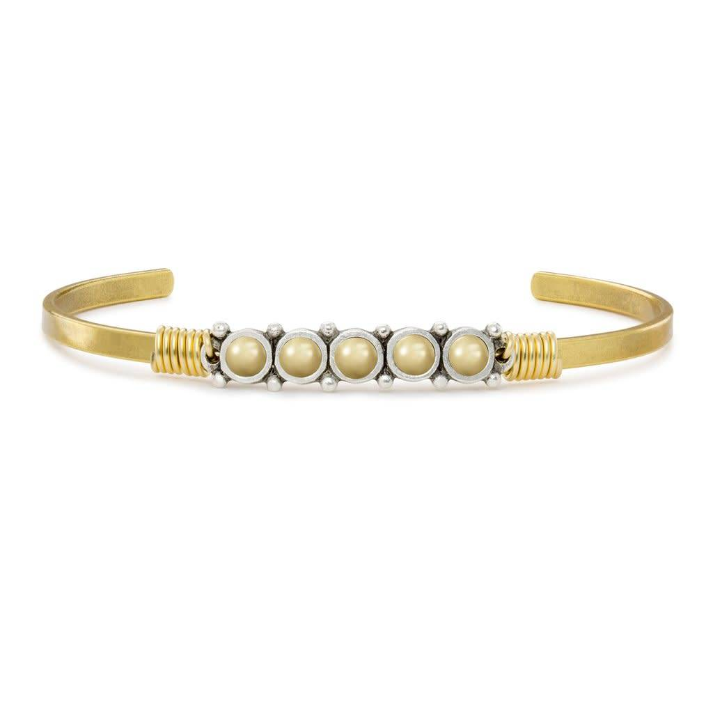 Crystal Champagne Pearl Cuff Brass