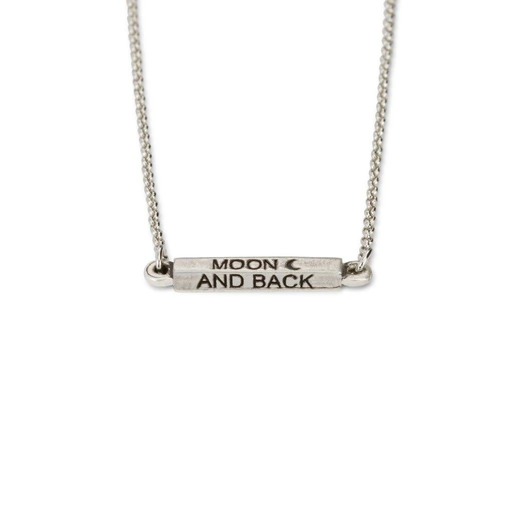 Affirmations Moon and Back Necklace Silver NK197S