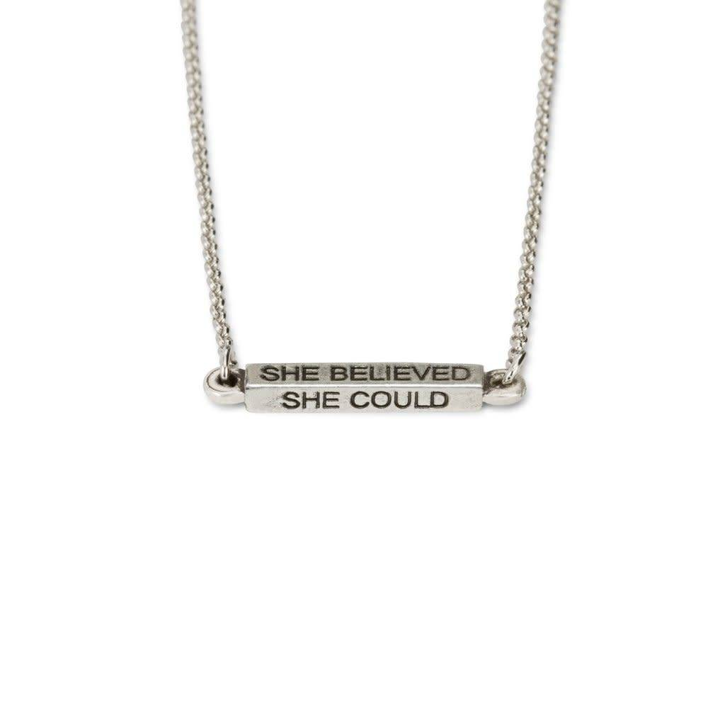 She Believed She Could Necklace Silver