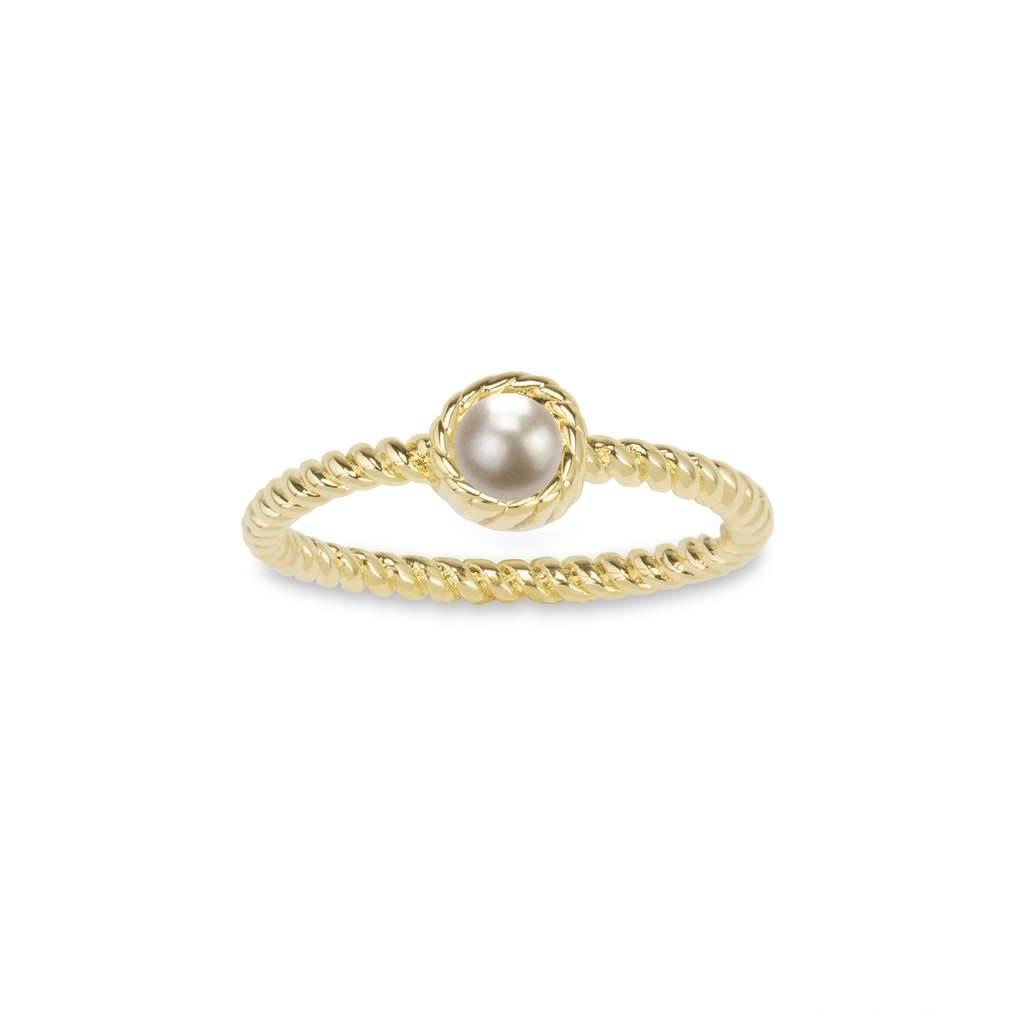 White Crystal Pearl Ring