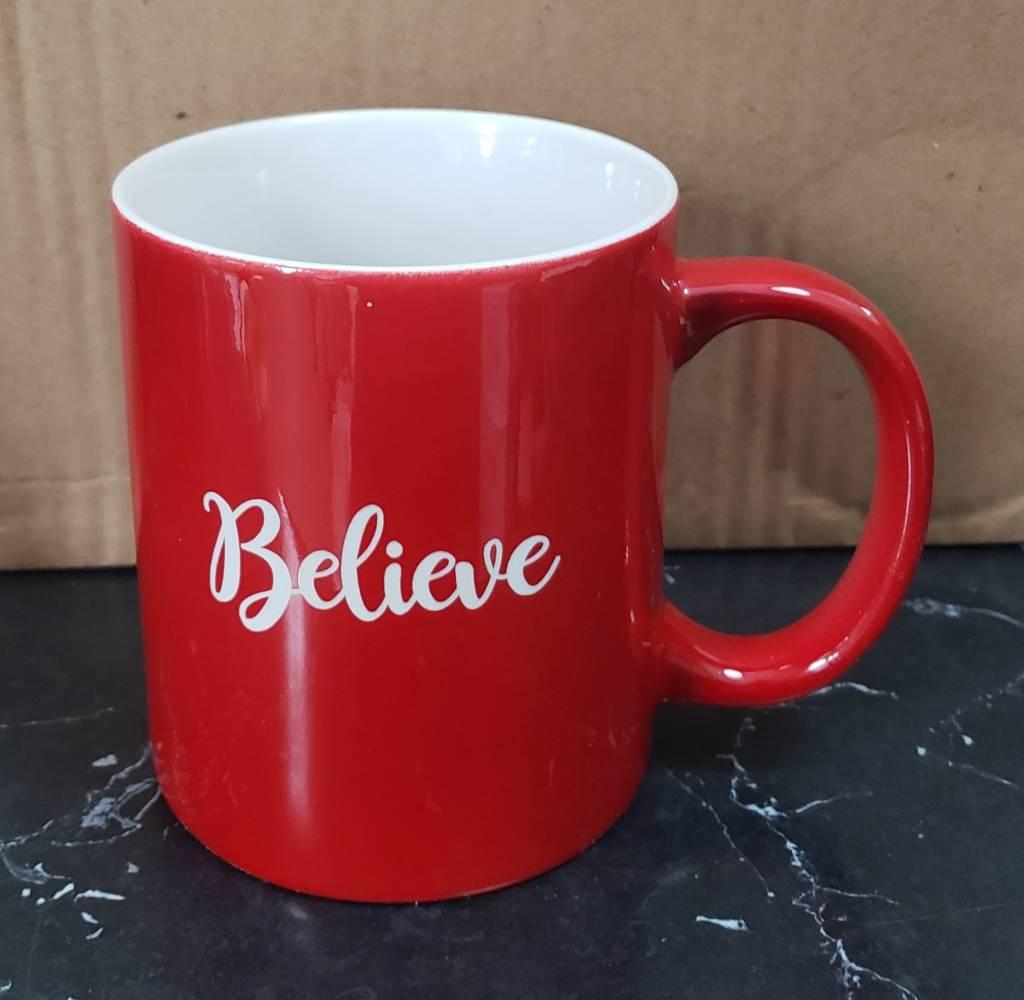 Believe Red Mug