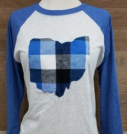 Ohio Plaid  Corey Baseball Tee