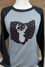 2018 Ohio Christmas Deer Baseball Tee