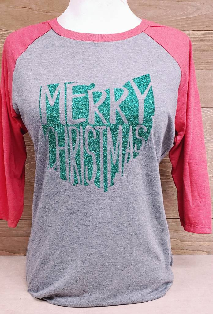 Merry Christmas Green Glitter BB Tee