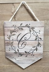 Wood Pendant  w/ Wreath Letter