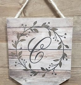 Wood Pendant  w/ Wreath Letter