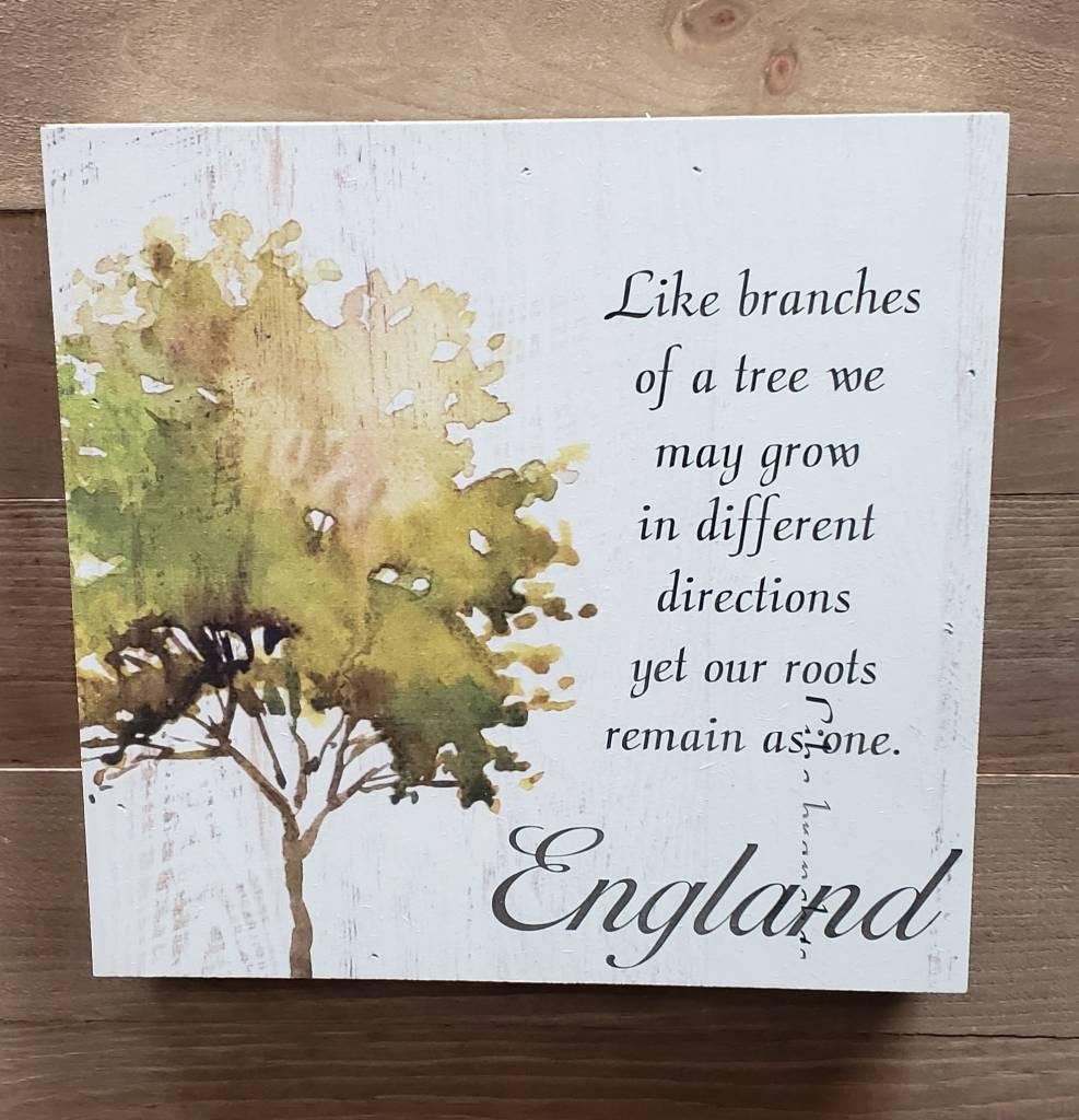 Faux Wood Box Sign w/ Tree