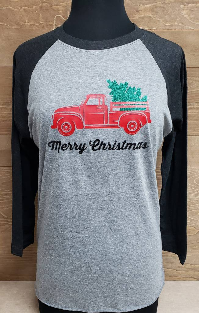 Red Truck Christmas Baseball Tee