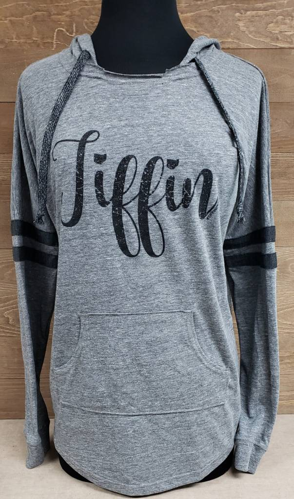 Tiffin Gray Striped Hoodie