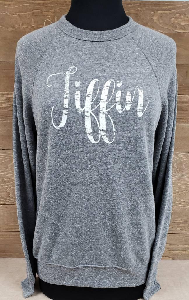 Gray Crew Neck Sweatshirt w/ White Tiffin