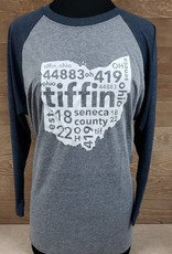 Tiffin 2017 Grey Baseball T Blue Sleeve