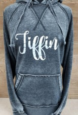 Tiffin Dark Grey Hooded Sweatshirt w/ White