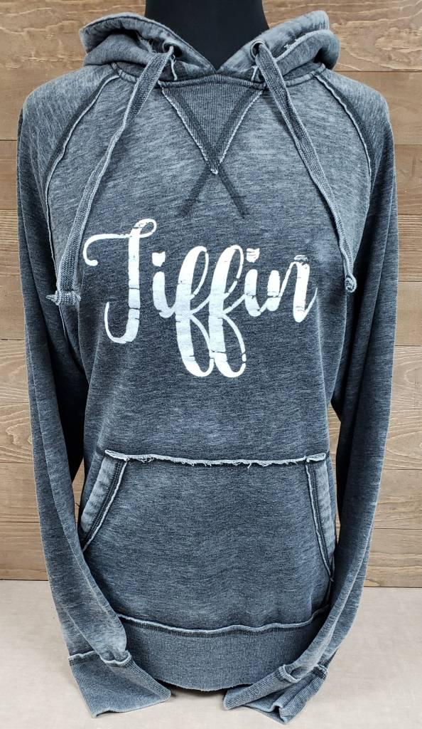 Dark Grey Hooded Sweatshirt w/ White Tiffin