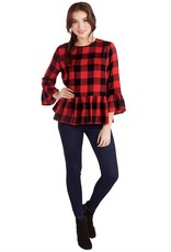 FLORA PEPLUM TOP IN RED BUFFALO CHECK