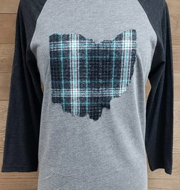Ohio Plaid Black Sleeve TEAL