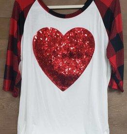3/4 Checker Sleeves Sequin Heart Top