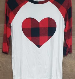 Checker Print Heart Patch 3/4 Sleeve Raglan Top