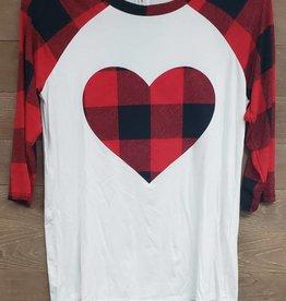 Checker Print Heart Patch 3/4 Sleeve Raglan Top