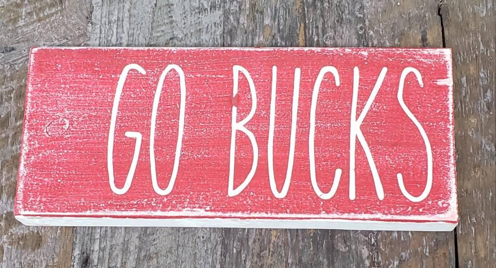 3.5x8 Go Bucks Red Sign