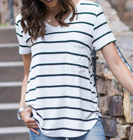 Perfect Pocket Tee White/Black Striped