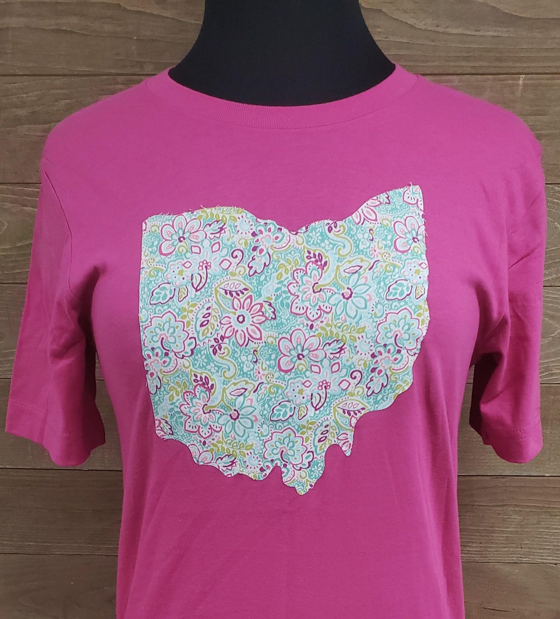 Ohio Plaid Katie Pink Crew Neck T Shirt