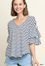 Navy Striped V Neck Button Up Top