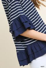Navy Striped/Layered Ruffle Round Neck Top