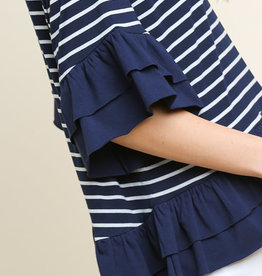 Navy Striped/Layered Ruffle Round Neck Top