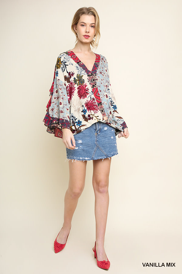 Multi-Floral Surplice Top with Split Ruffle Sleeves