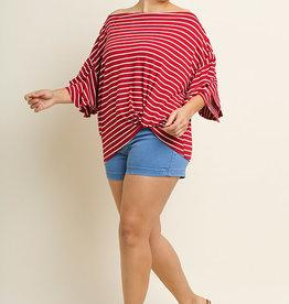 Red Striped Off Shoulder Top