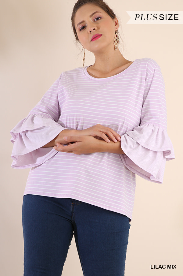 Lilac Striped Round Neck Top