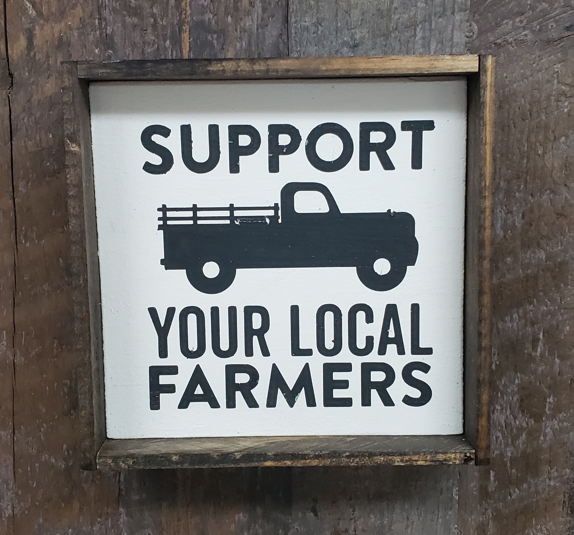 6x6 Support Your Local Farmer Framed
