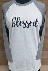 Blessed Baseball Tee Gray Sleeve