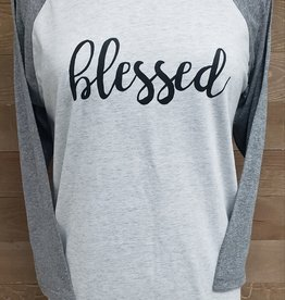 Blessed Baseball Tee Gray Sleeve