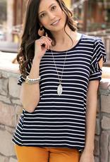 Striped Ruffle Sleeve Tee Navy/White