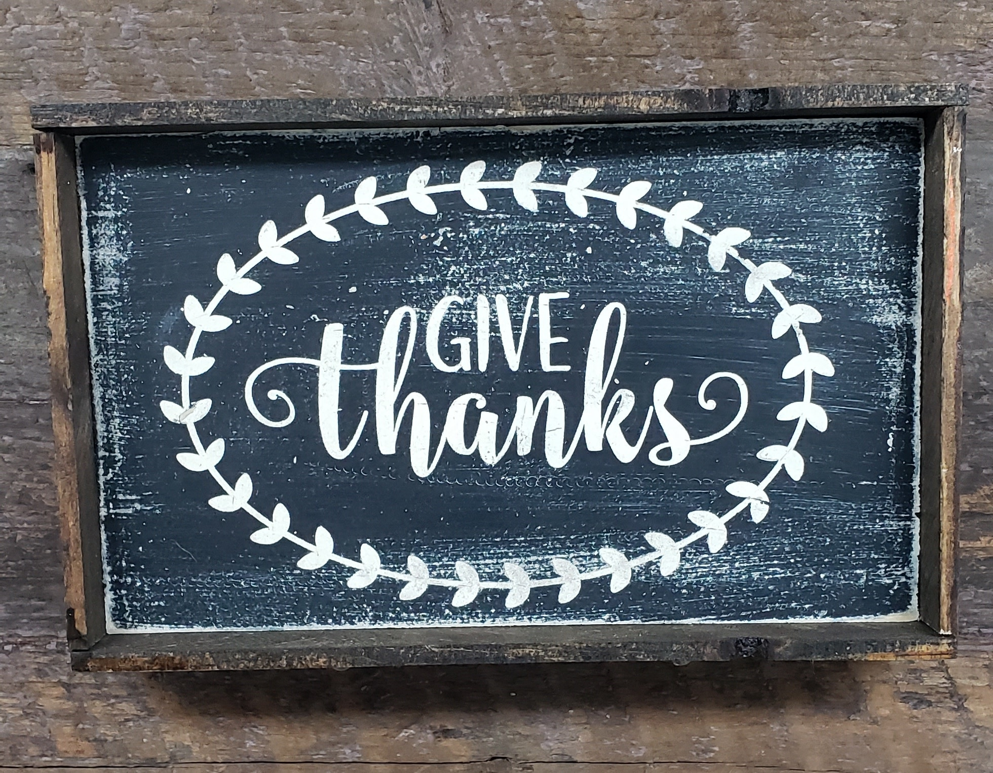 6x9 Give Thanks Black Framed