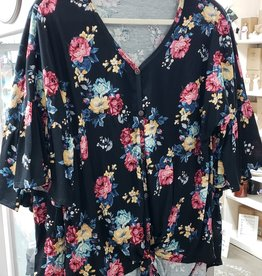 Ava Floral Print 3/4 Ruffled Sleeve Tie Top