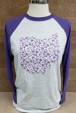 Audrey Ohio Baseball Tee Purple Sleeve