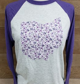Ohio Plaid Audrey Baseball Tee Purple Sleeve